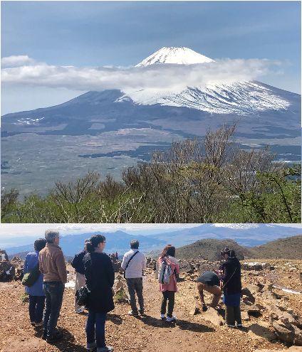 富士山 と 眺める人